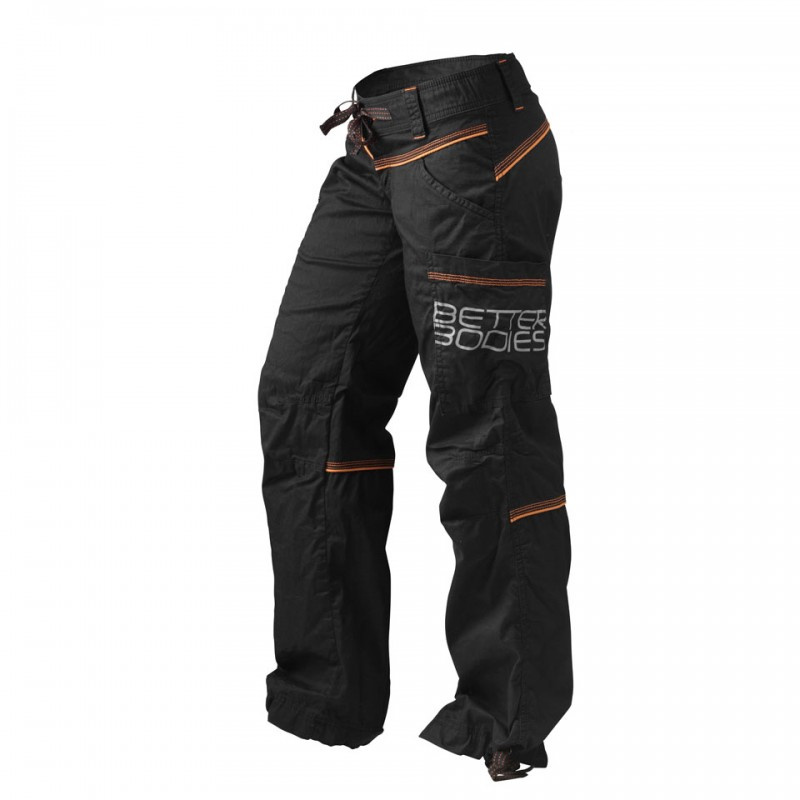 CONTRAST WINDPANT, BLACK/ORANGE -FRONT