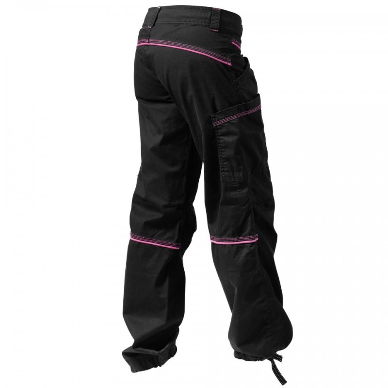 CONTRAST WINDPANT, BLACK/PINK-BACK