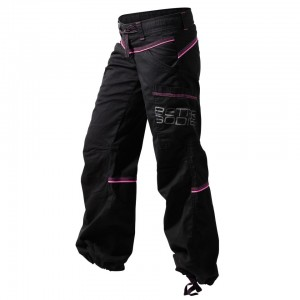 CONTRAST WINDPANT, BLACK/PINK-FRONT